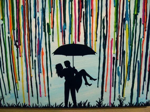 Custom Handmade Wedding Gift Couple Under Umbrella Painting In The Rain Melted Crayon Art Silhouette Romantic Wax