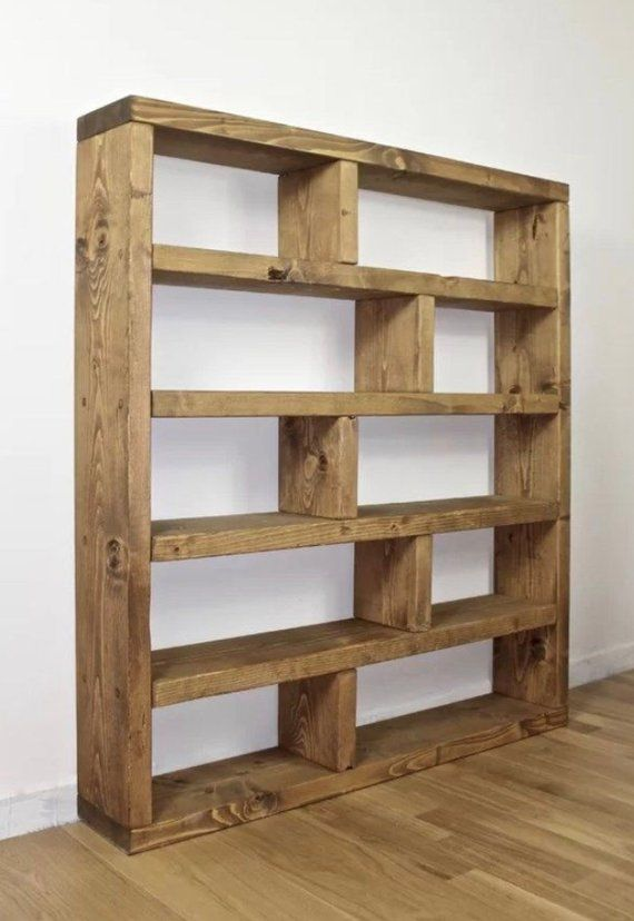 Handmade Industrial Style Bookcase 20cm Deep 113cm Wide 20cm Gap Height On The 127cm Tall Version Or 25cm Wood Storage Cabinets Rustic Bookcase Rustic Shelves