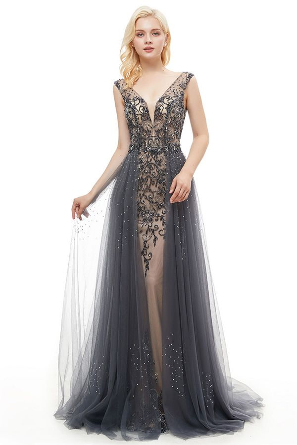 [238.99] Charming Tulle & Satin V-neck Neckline Floor-length Mermaid Evening Dress With Beadings & Rhinestones