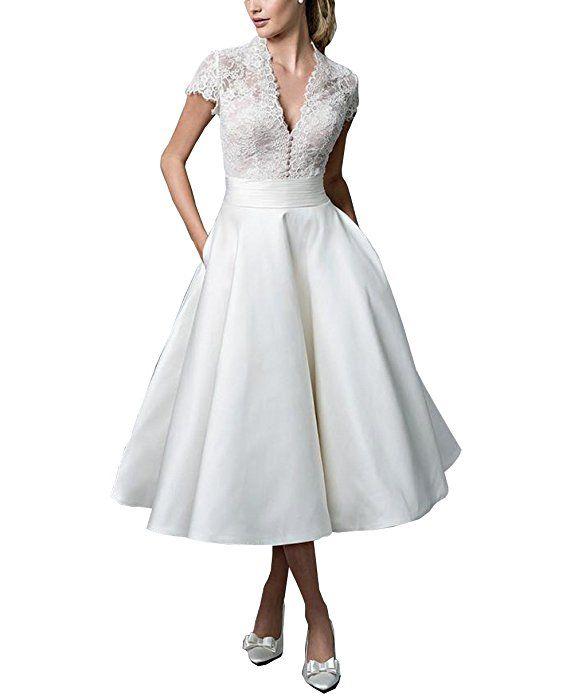 Kiss Rain Women's Sheer Vintage Short Lace Wedding Dress