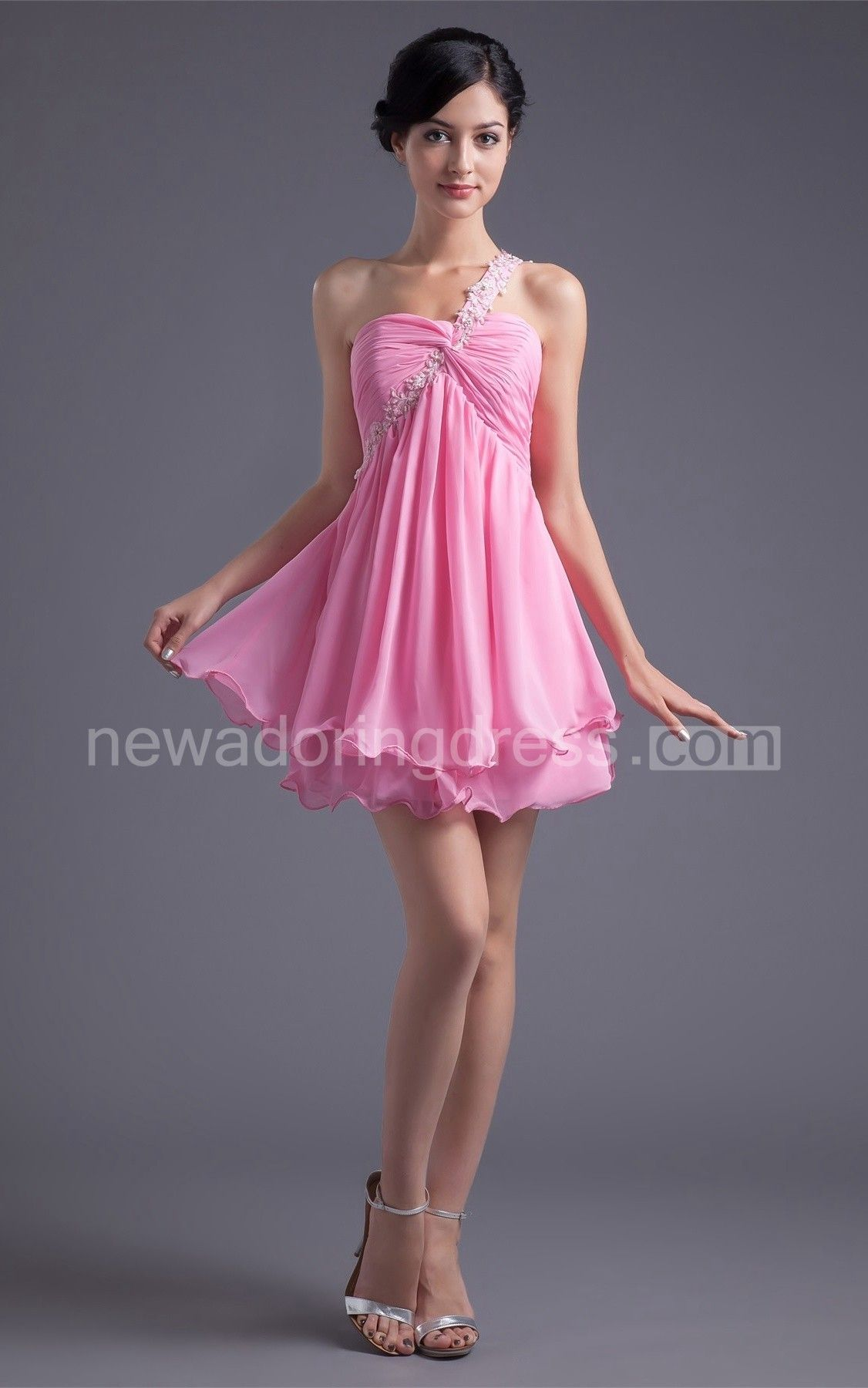 Chiffon Criss-Cross Empire Mini Dress with Beaded Strap   bellos ...