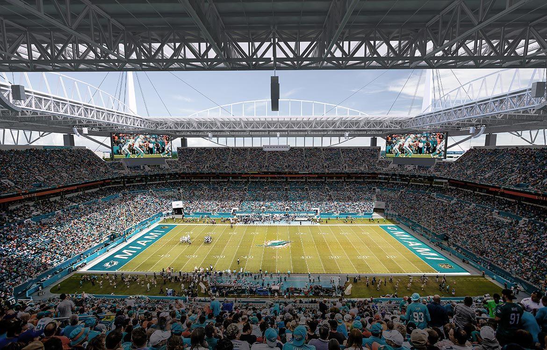 Interior of the renovated Miami Dolphins stadium