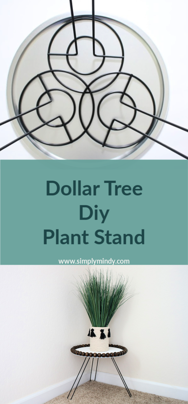 Dollar Tree Diy Plant Stand is part of Diy dollar tree decor, Dollar tree diy crafts, Diy plant stand, Dollar tree diy, Dollar store diy, Dollar tree crafts - After creating my macrame wall hanging , I knew I needed to add a little something extra to complete the upstairs landing  This Dollar Tree plant stand is the perfect addition!