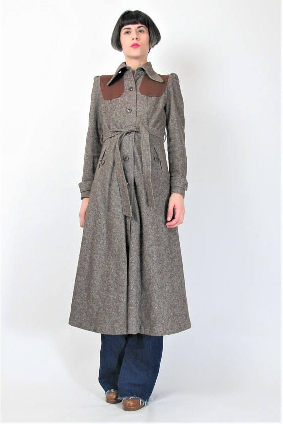Tweed mantel damen braun