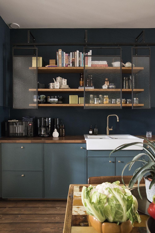 U-förmige küchendesigns gravity home blue kitchen with semi open shelves  kitchen