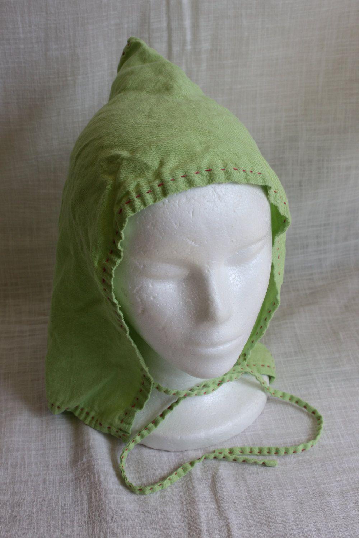 Hand Sewn Bright Green and Pink Linen Viking Jorvik Cap Women s Norse Hat.   40.00 8a8ebaf8f