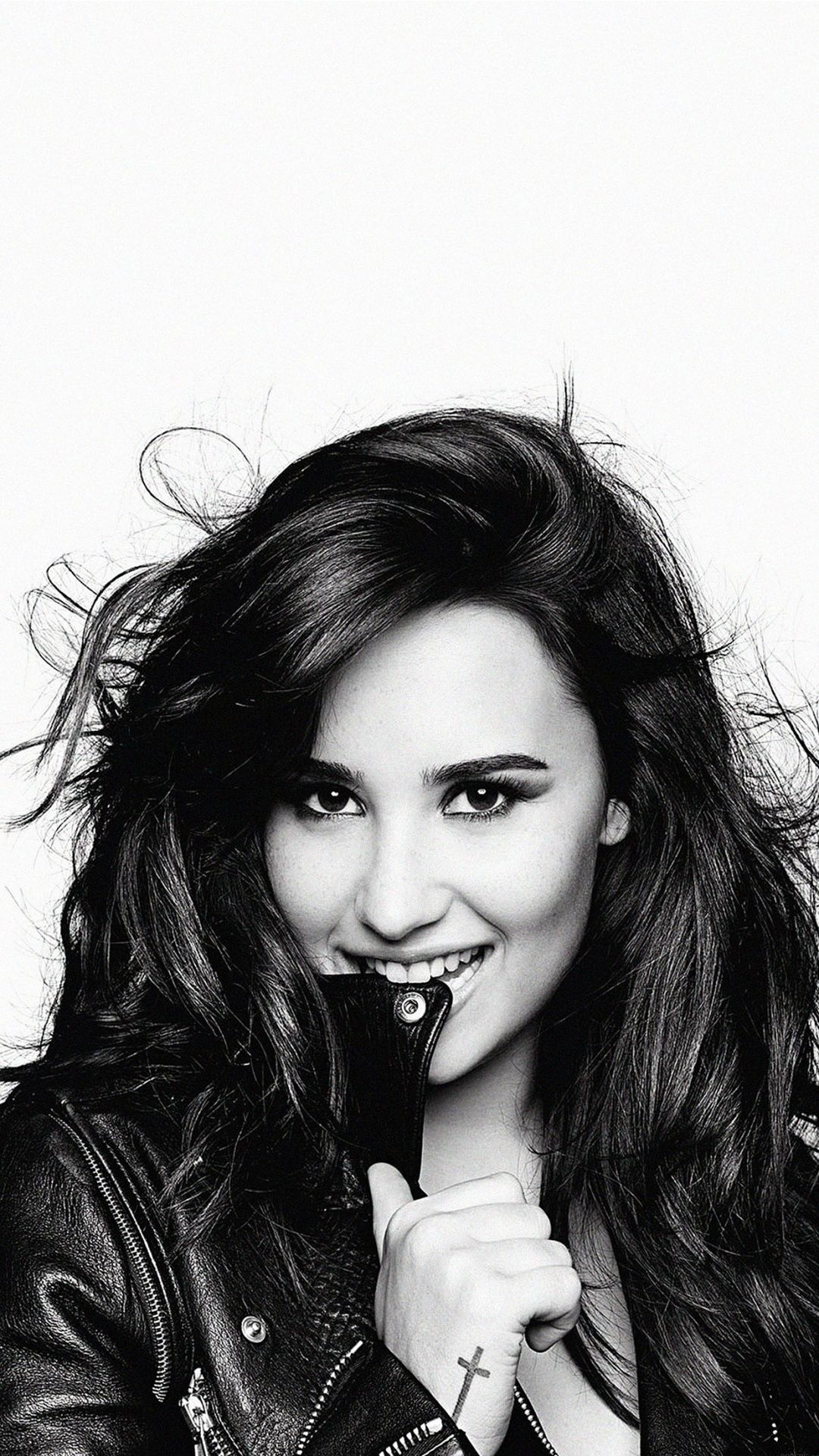 demi lovato black and white wallpaper for iphone