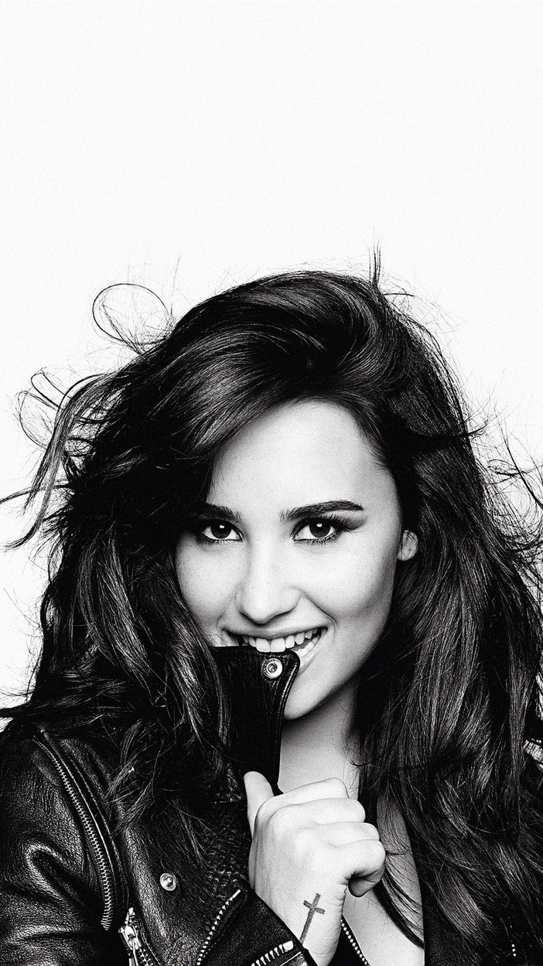 Demi Lovato Black And White Wallpaper For IPhone