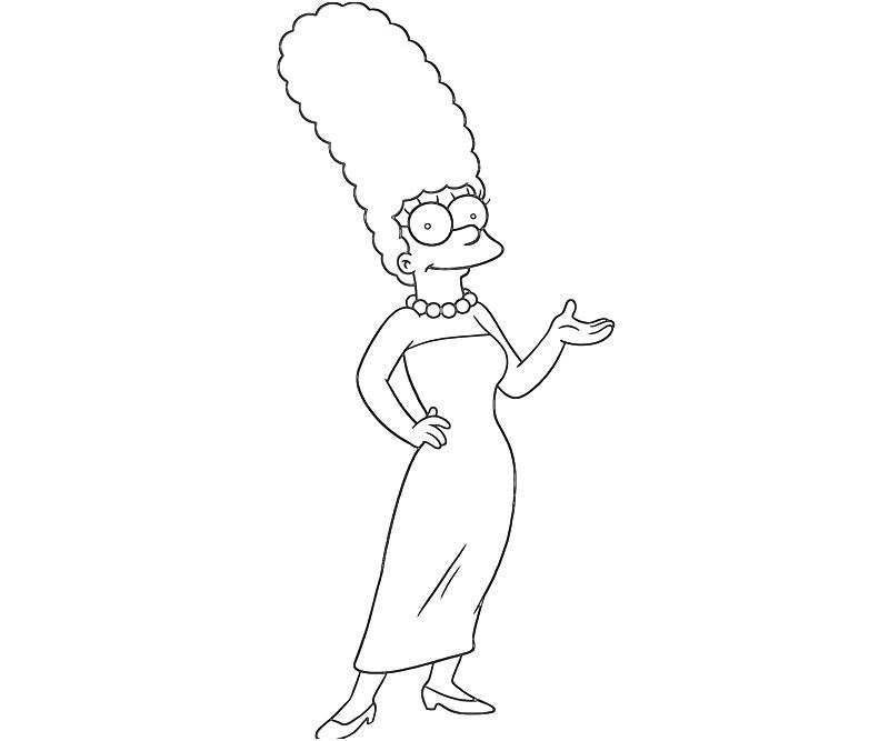 Printable The Simpsons Marge Cartoon Coloring Pages Marge Simpson The Simpsons