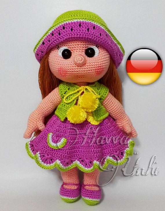 Deutsche Anleitungen - Wassermelone Puppe Häkelanleitung | Ganchillo ...