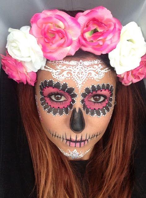 Crown Brush Sugar Skull Make Up Tutorial By Annabella Lingis Halloween Skull Sugar Skull Halloween Sugar Skull Makeup