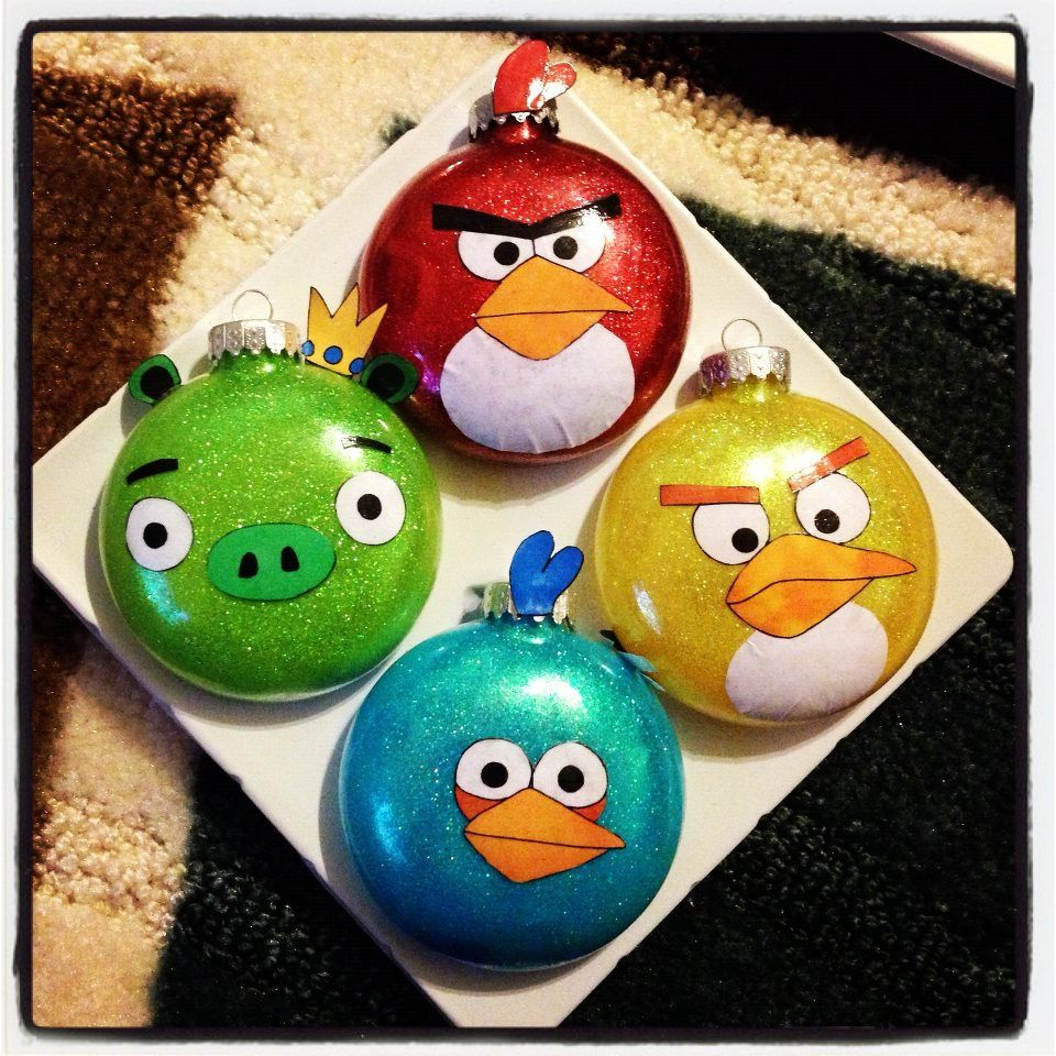 Angry birds ornaments light bulb inspiration light - Angry birds noel ...
