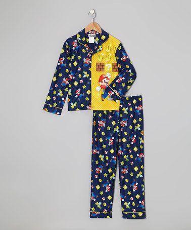 Take a look at this Navy & Yellow Mario Button-Up Pajama ...