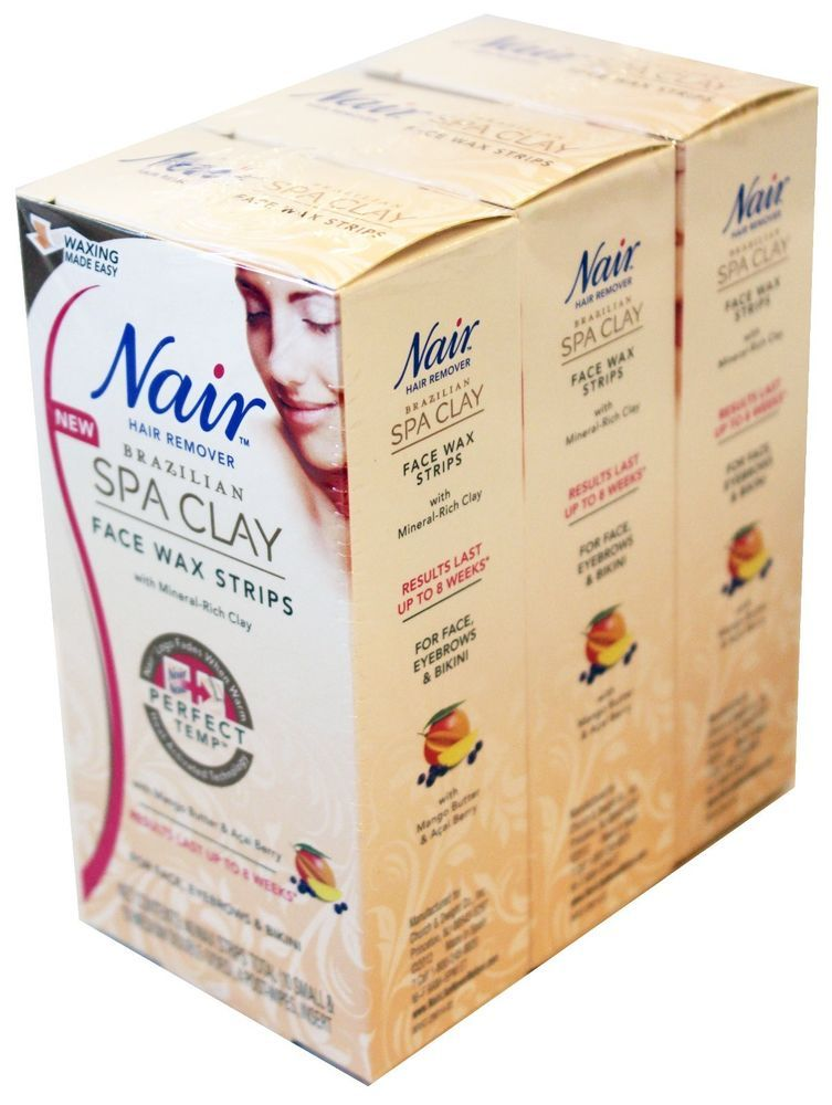 3 Nair Hair Remover Brazilian Spa Clay Face Wax Strips With Mineral Rich Clay Nair With Images Face Wax Wax Strips Clay Faces