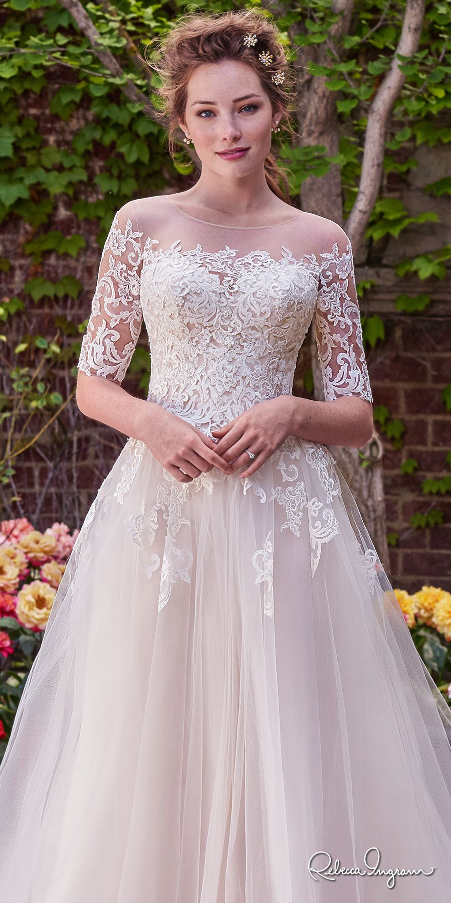 a4441aa1f324 rebecca ingram 2017 bridal half sleeves illusion jewel straight across  neckline heavily embellished bodice romantic princess