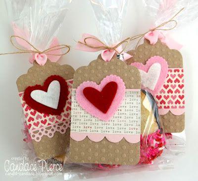 Valentine Tags Love Vintage Style Valentine Tags Scalloped Shabby Valentine Set of 4