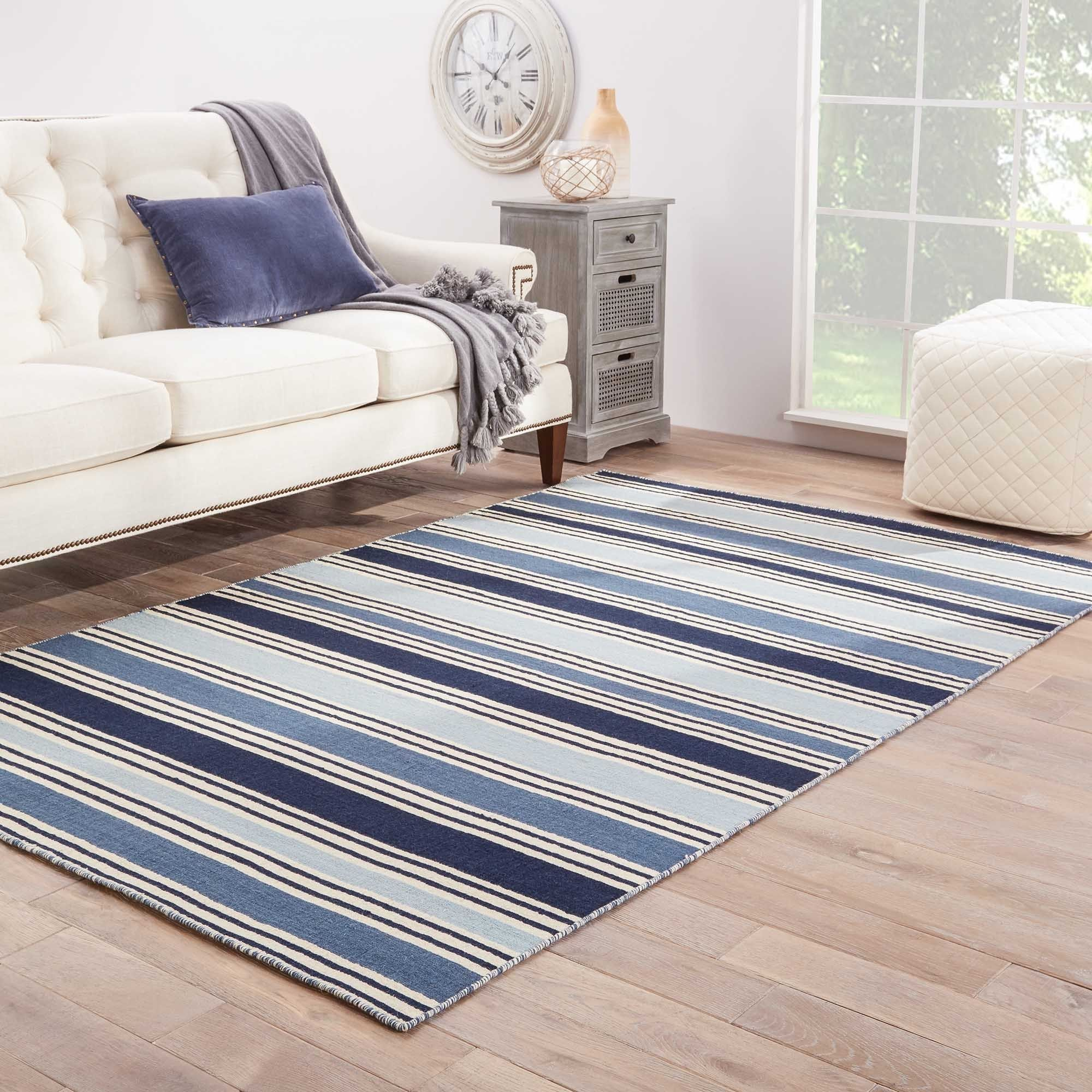 Lancaster Handmade Stripe Blue White Area Rug 8 X 10 7 10