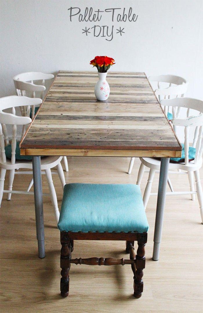 cooler robuster esstisch aus paletten selber bauen m bel in 2018 pinterest selber bauen. Black Bedroom Furniture Sets. Home Design Ideas