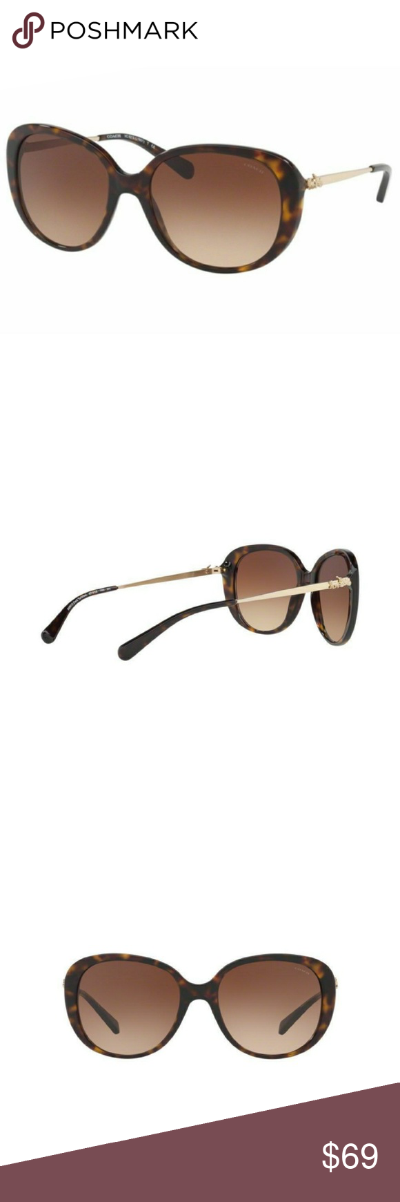 872a1a6b092b New Coach ladies sunglasses New Authentic ladies Coach Sunglasses. Frames  are Dark Tortoise with Brown gradient lenses. Sunglasses feature Coach  horse and ...