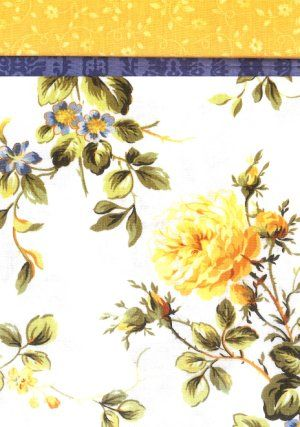 Pillowcase Kit - Wild Rose 2. From the Wild Rose collection of fabrics, this floral pillowcase kit features large roses in yellow with green leaves, plus purple and blue flowers on a white ground. The accent band is blue and the top is a yellow floral. Kit contains the fabric and pattern you need to make one pillowcase kit.