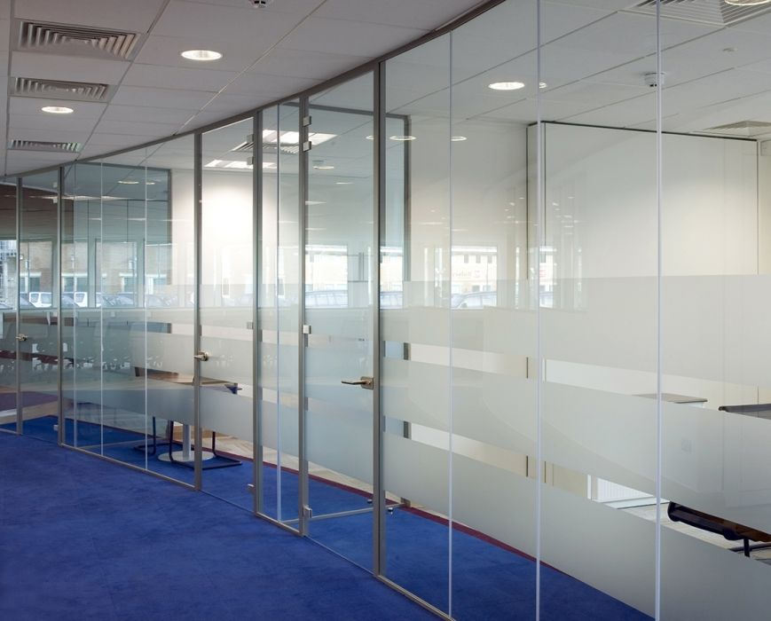 Floor to ceiling glass walls for interior environments Interior glass partition systems