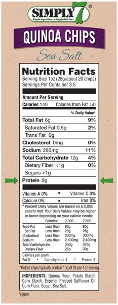 Quinoa Chips Sea Salt Nutrition Facts Simply 7 Snacks Quinoa Chips Nutrition Facts Simply Quinoa