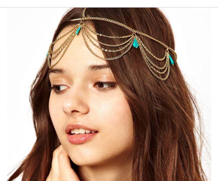 Vintage metal crystal stone headband by Jcafterhours on Etsy