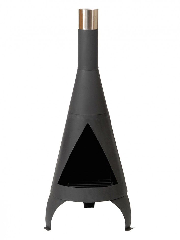Gardenista ; steel ; chiminea: A Steel Chiminea comes in two heights, (125 centimeters for $67.62) and (105 centimeters for $52.01) at Amazon./Perhaps better than a pit, in a place where it rains.
