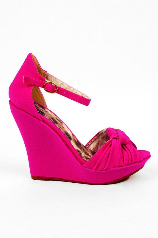 Hot pink wedges, Pink wedge shoes