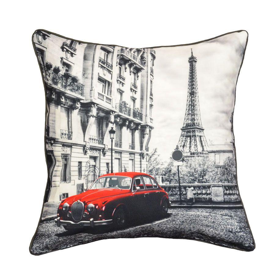 joli coussin deco Très joli coussin déco imprimé Paris Tour Eiffel en noir & blanc  joli coussin deco
