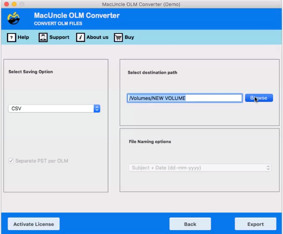 OLM to CSV Converter for Mac OS to Export OLM Files to