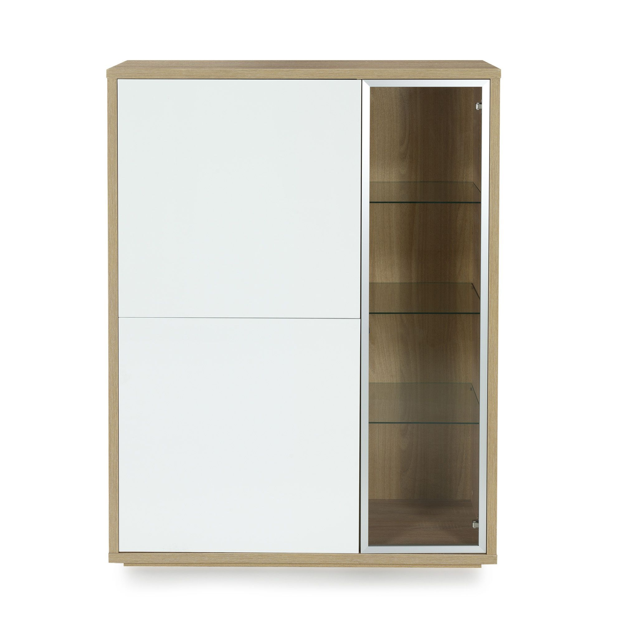 Meuble Vitrine 3 Portes Design Scandinave Imitation Ch Ne Blanc  # Meuble Tele Chene Et Blanc Design
