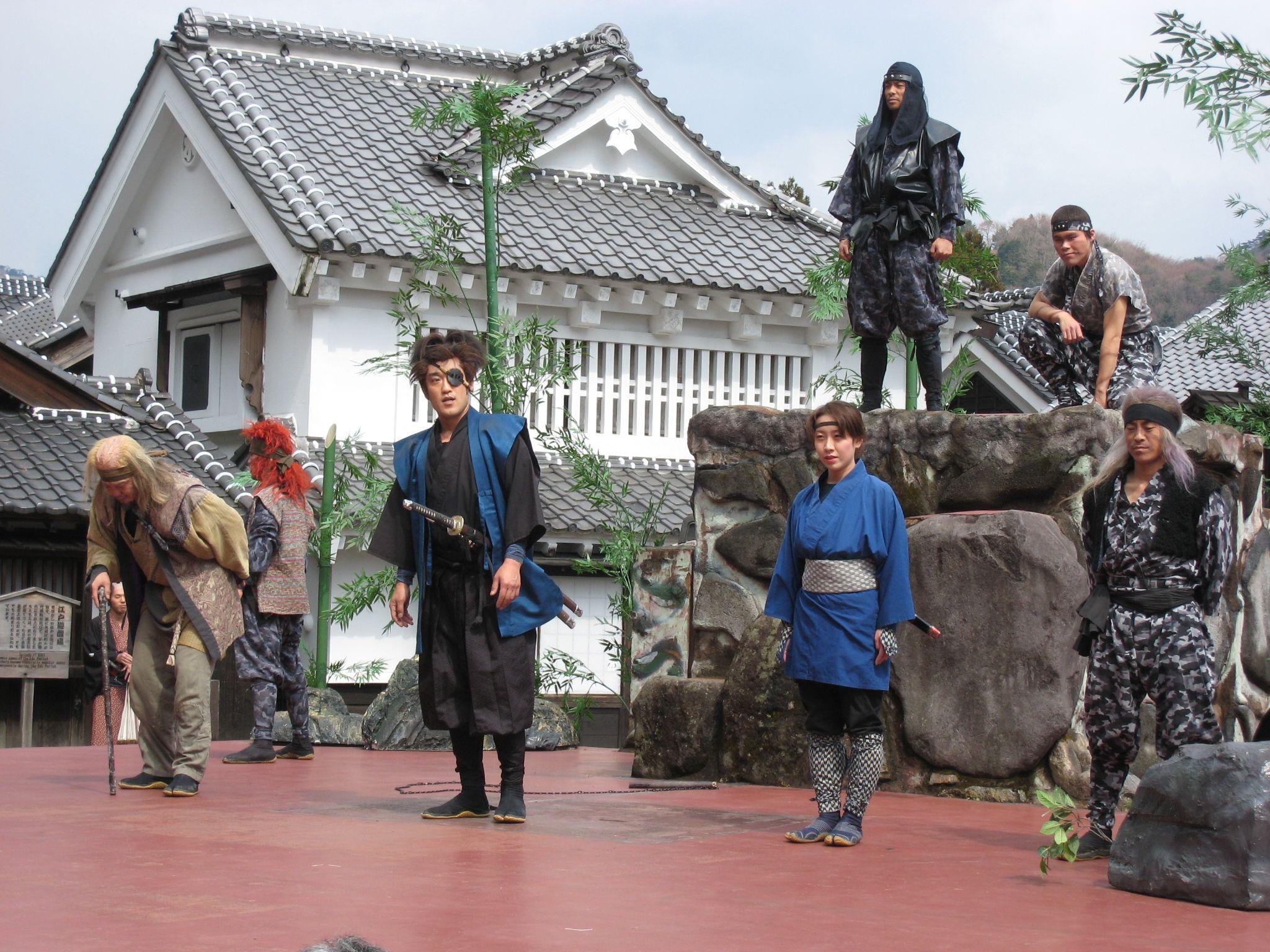 日光時代村。Nikko jidaimura. Outdoor action period drama with Fx effects.