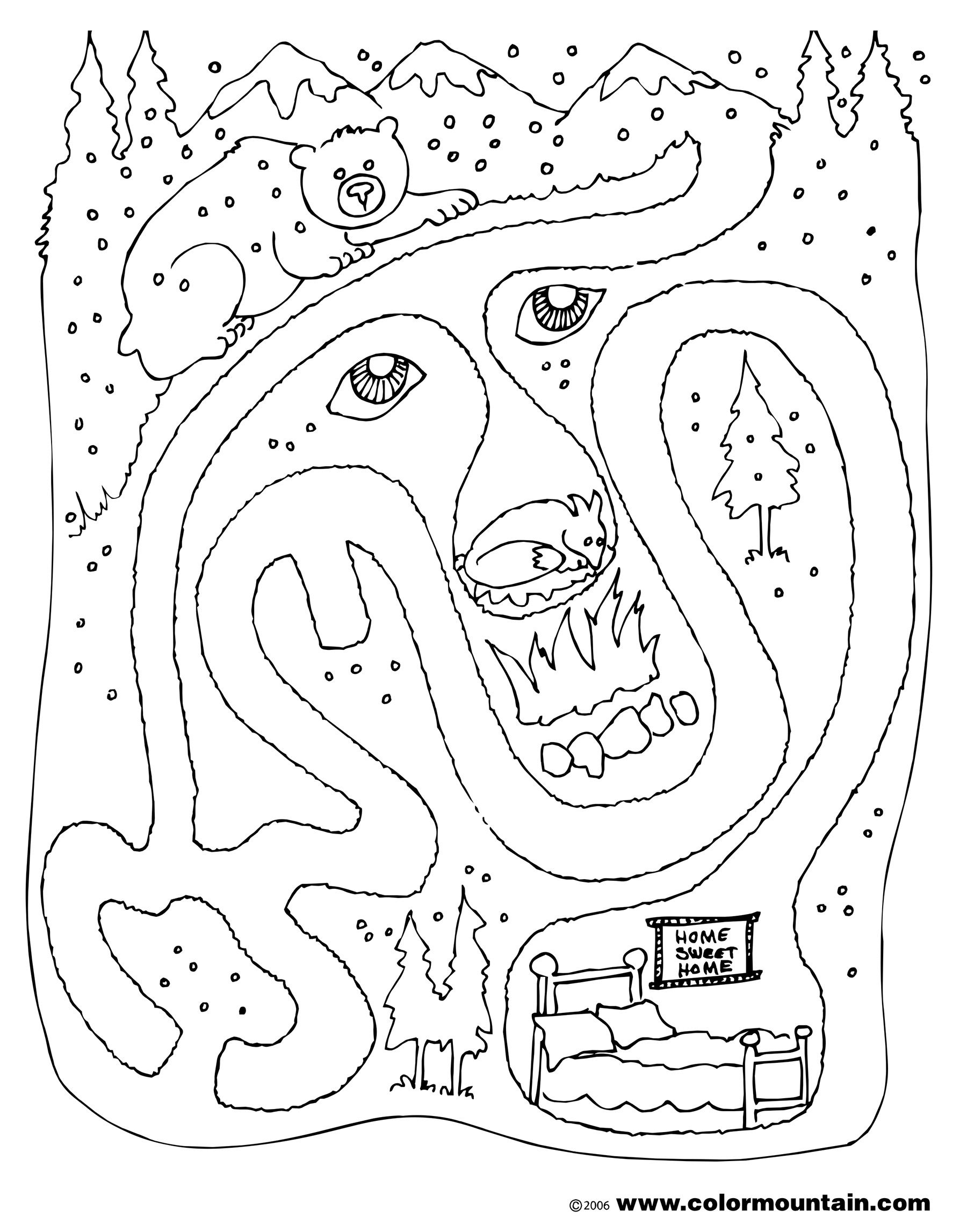 Bear Maze Activity Color Page Coloring Page