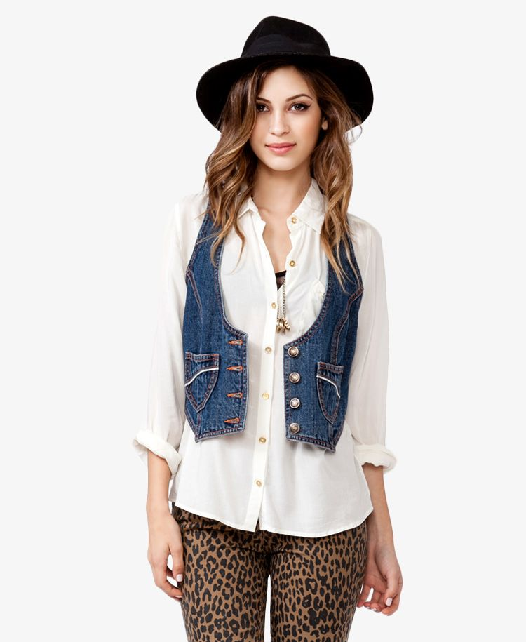 i have all these pieces - the sheer white shirt, a denim vest, and the leopard skinnies.  and the black hat too!