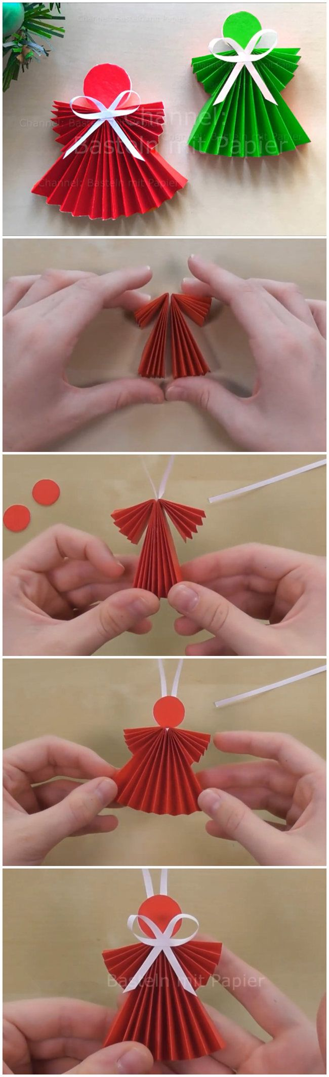 Easy Paper Angel Using Origami Paper Christmas Crafts Kids Christmas Ornaments Xmas Crafts