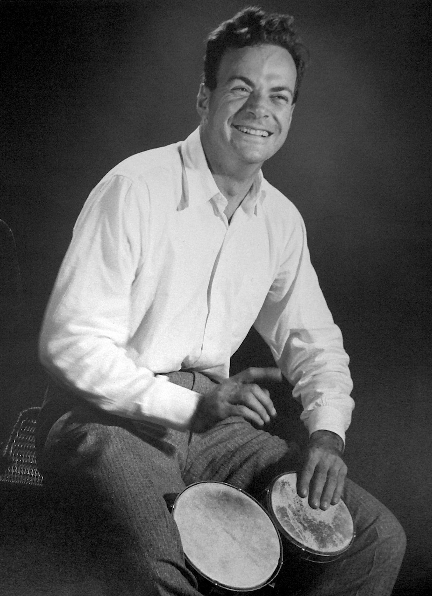 Richard Feynman with bongo drums