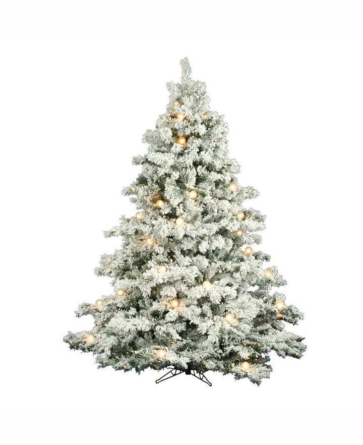 Vickerman 7.5' Flocked Alaskan Pine Artificial Christmas Tree with 800  Clear Lights and 45 G50 White Lights - 7.5' Flocked Alaskan Pine Artificial Christmas Tree With 800 Clear