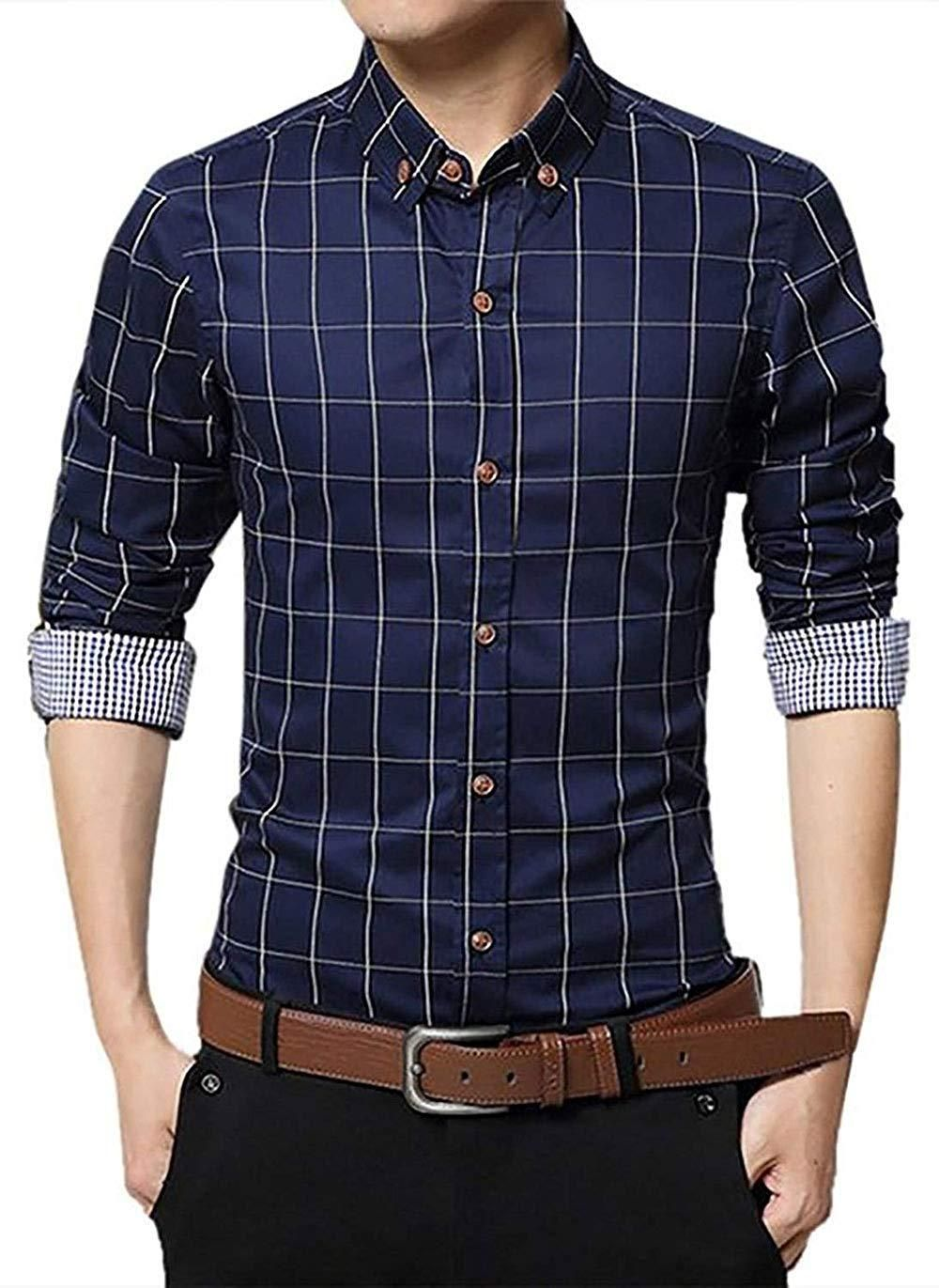 e1a22701 Mens Cotton Contrast Checkered Button Down Plaid Long Sleeve Dress Shirt