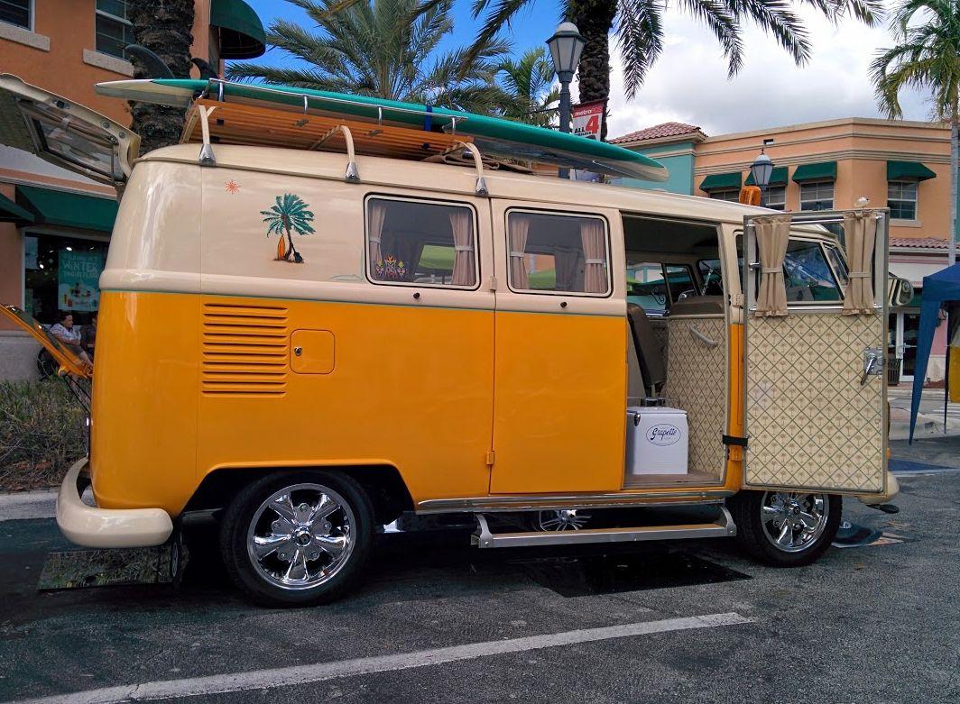yellow classic vw bus