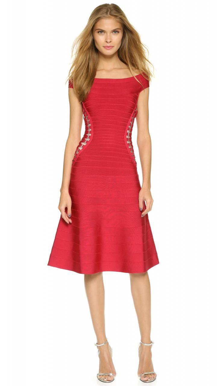 Herve leger alyse dress lipstick red musteredlady