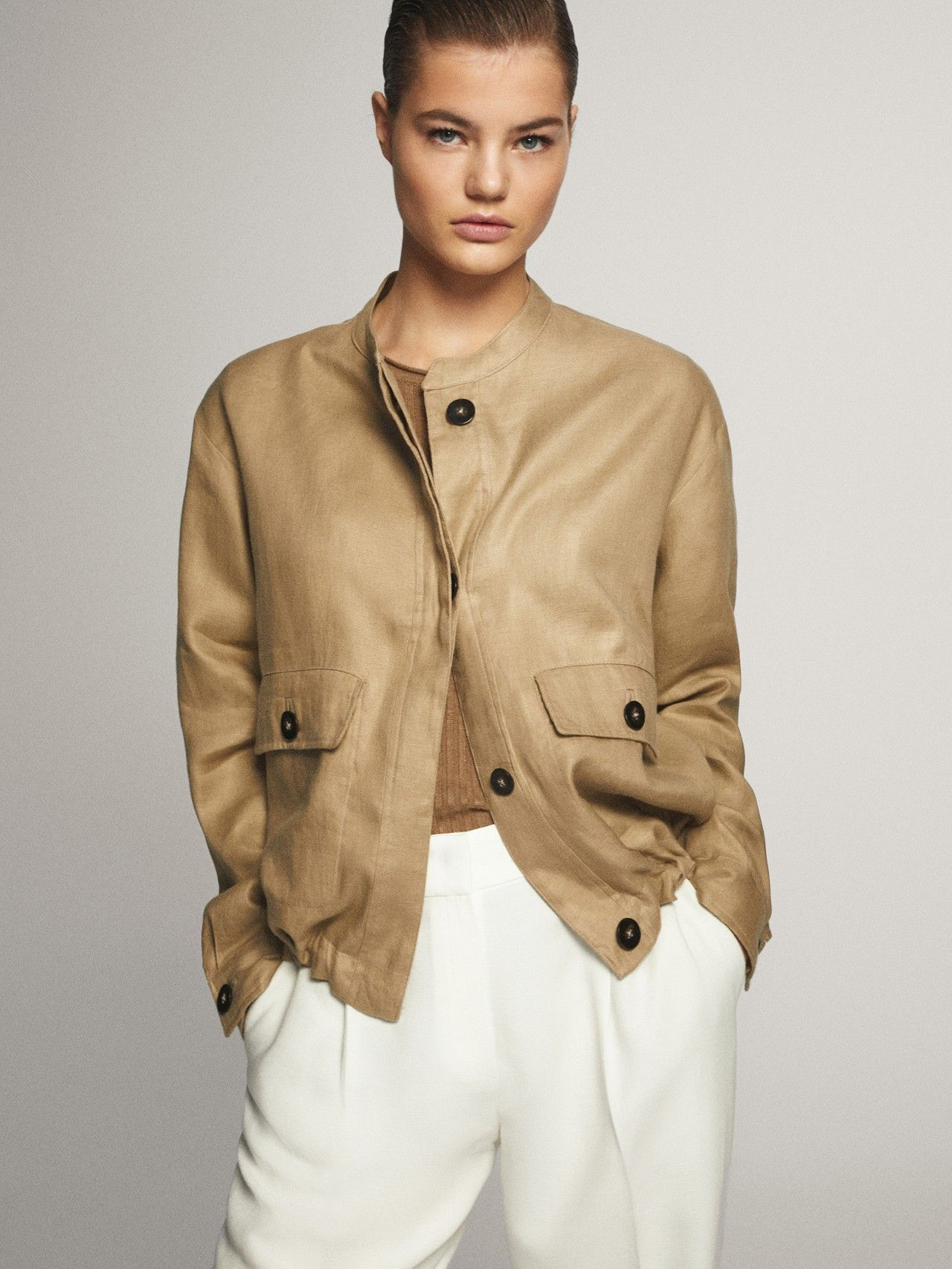 Massimo Dutti Mujer Chaqueta Corta Lino Beige Xs Linen Jackets Women Bomber Jacket Women Linen Jackets