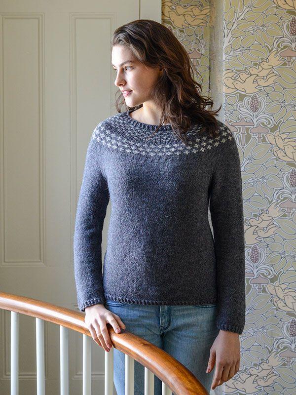 A bottom-up sweater combines raglan decreases with circular yoke ...