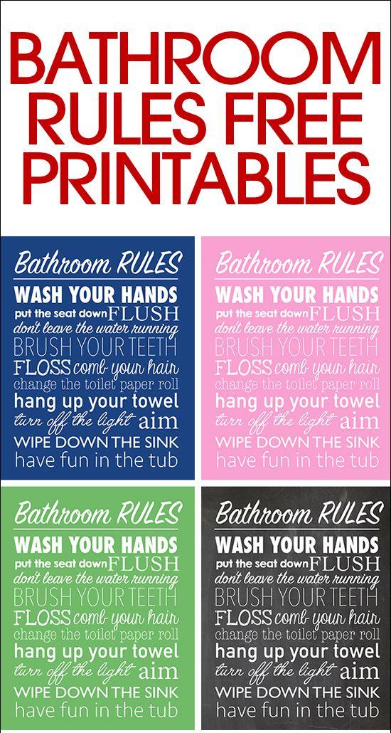 Bathroom Rules Free Printable Bathroom Printables Bathroom