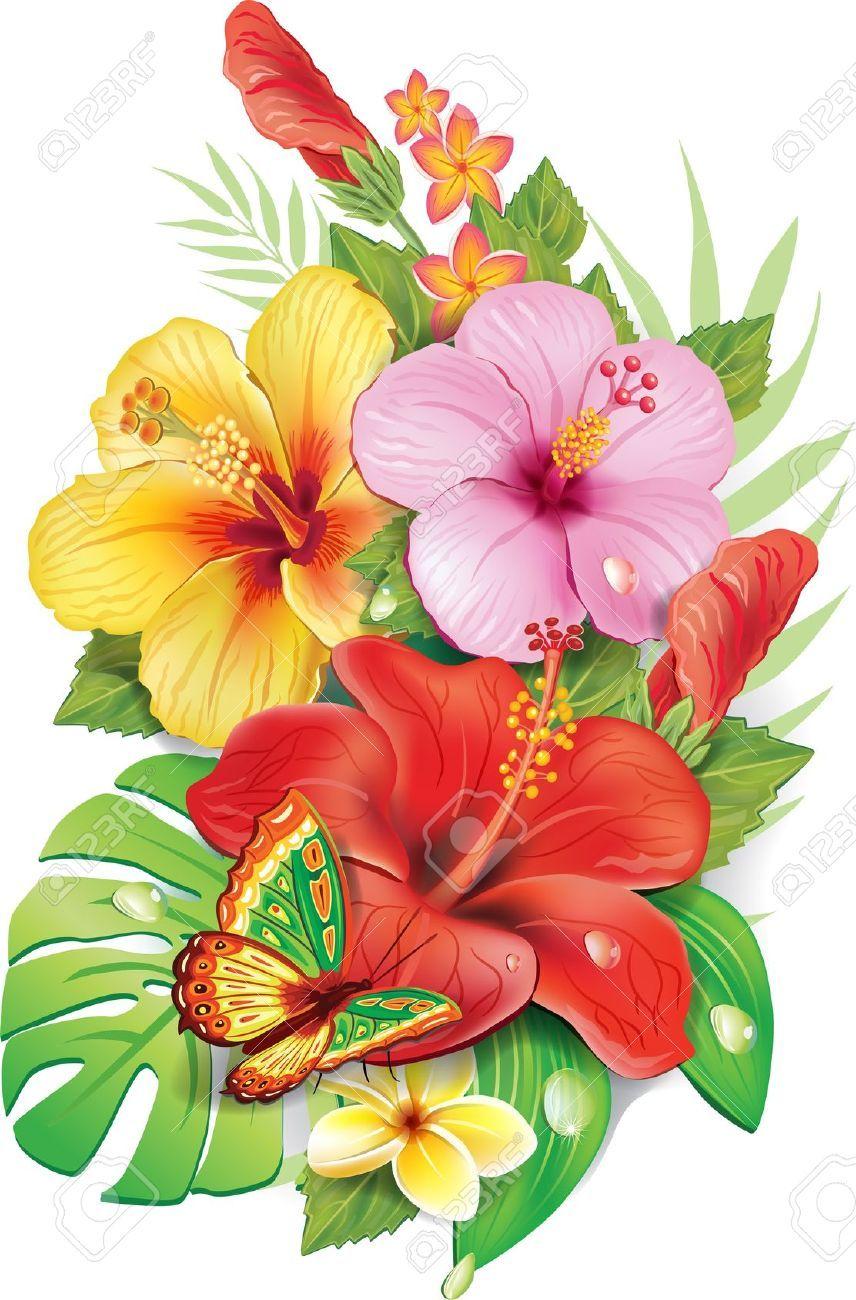 Bouquet de fleurs tropicales fleurs pinterest dessin - Modele dessin fleur ...