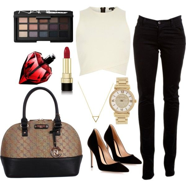 Classy AF by karlaeclipse on Polyvore featuring moda, River Island, J Brand, Gianvito Rossi, Wanderlust + Co, Michael Kors, Dolce&Gabbana and NARS Cosmetics