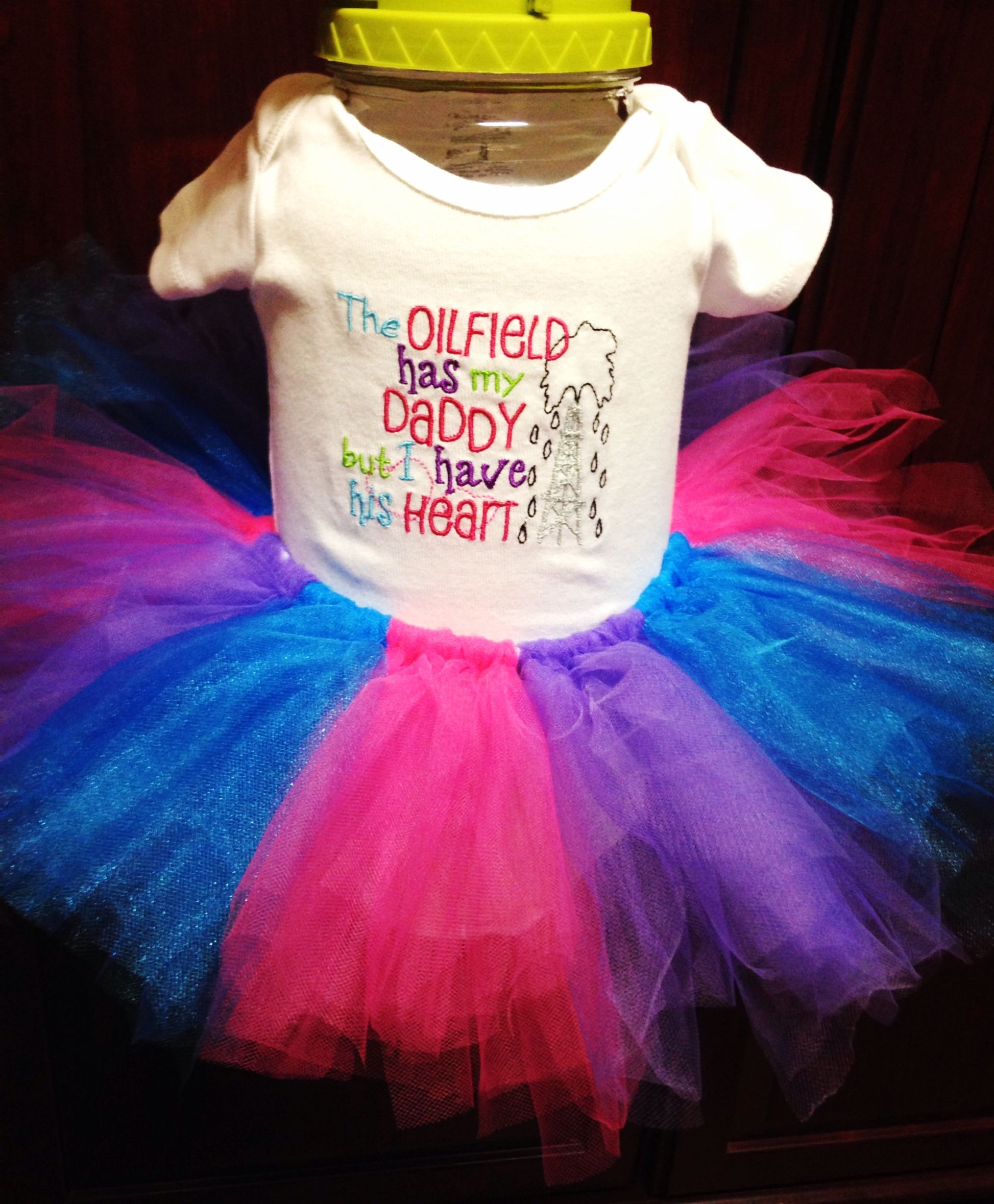 2f340304 The Oilfield Has My Daddy But I Have His Heart - Baby Onesie and Tutu set