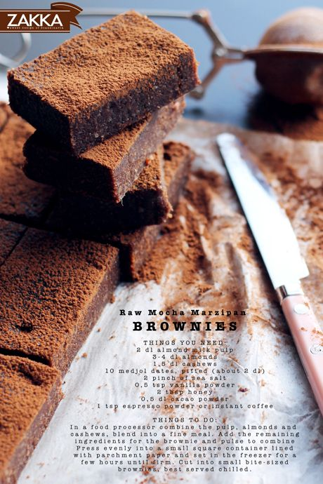 Mocha Marzipan Brownies (Raw, GF)
