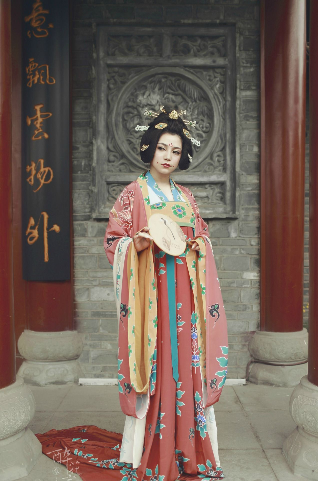 Traditional Chinese fashion in Dunhuang style of Tang dynasty