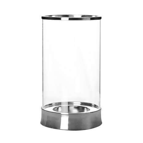 5a Fifth Avenue Metal And Glass Hurricane Vase Candle Holder
